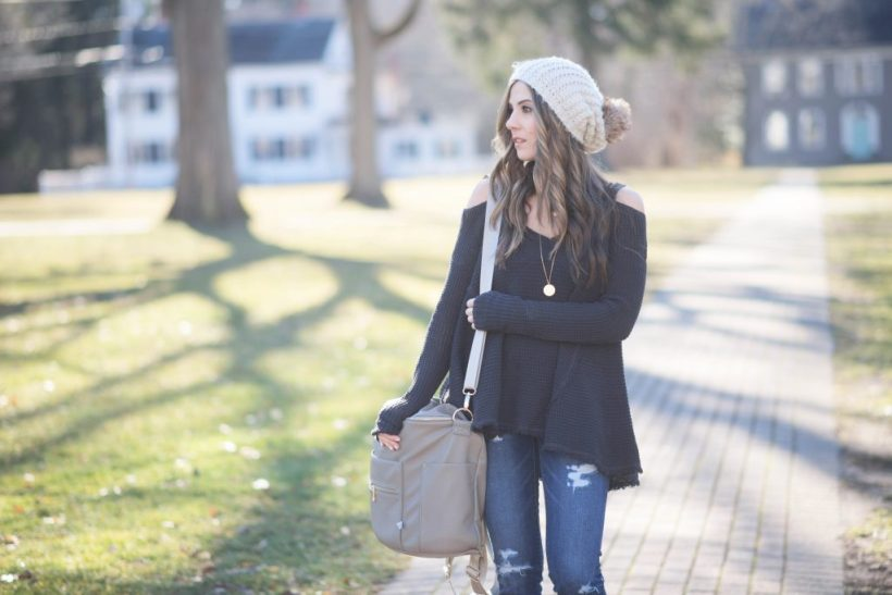 Free People cold shoulder top with distressed skinnies and Hush Puppies Cyra Caitlin booties
