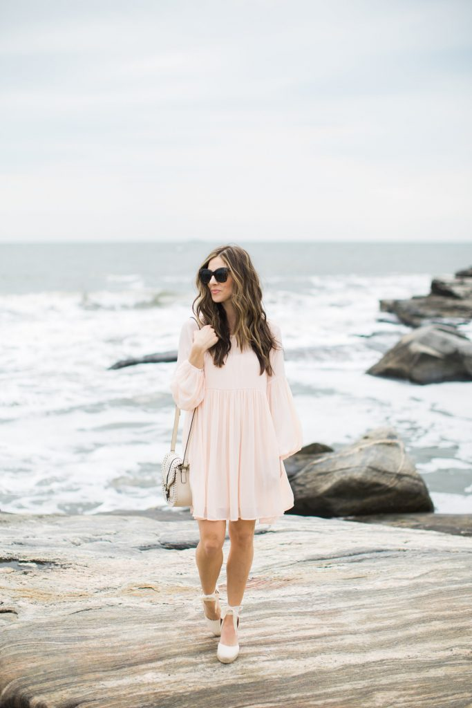 Peach chiffon dress with Sole Society Kianna bag and Soludos wedges