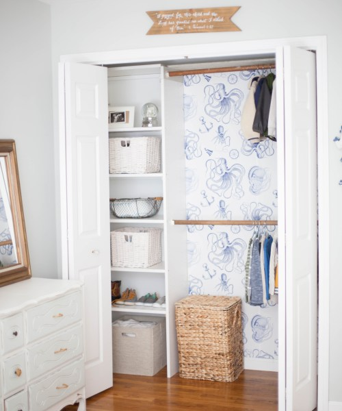 Home // Kids' Closet Makeovers & Tips for Installing Removable Wallpaper