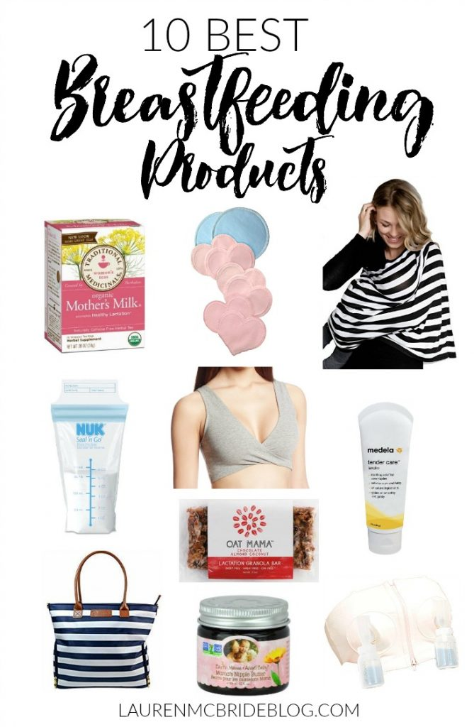 A list of the 10 best breastfeeding products for breastfeeding mothers, including pumping items, milk storage, nipple cream, and lactation supplements.