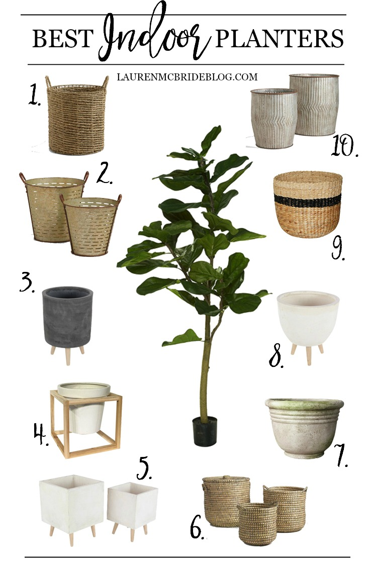 Connecticut based life and style blogger Lauren McBride shares the best indoor planters for your faux or real house plants.