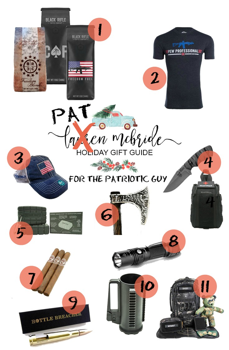 Life and style blogger Lauren McBride shares a Holiday Gift Guide for the Patriotic Guy, including a variety of veteran owned and veteran supporting companies!