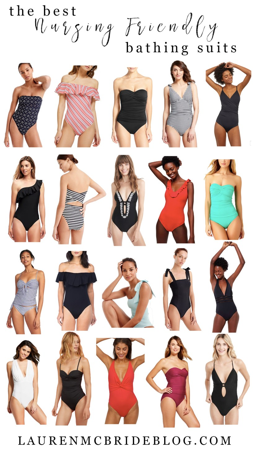 Life and style blogger Lauren McBride shares The Best Nursing Friendly Bathing Suits for the 2018 summer season! Each of these will make it easy to nurse your little one at the beach or pool all season long!