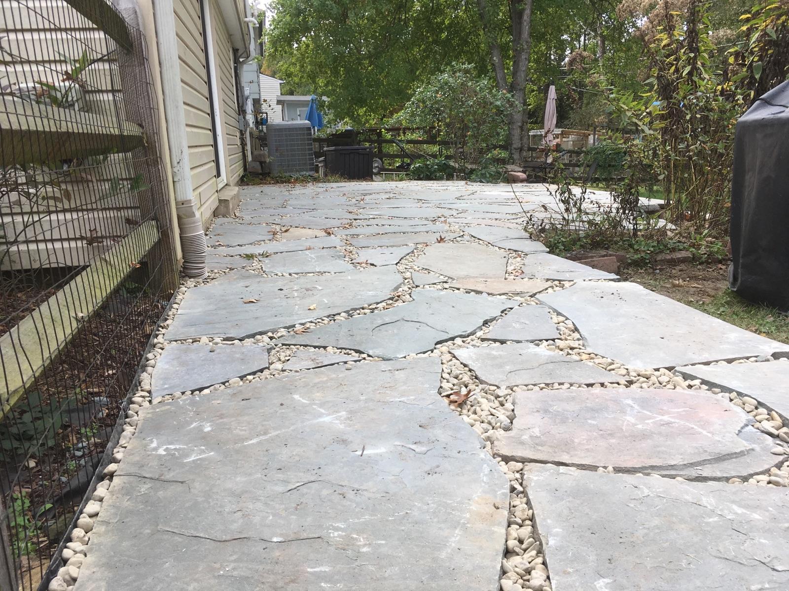 PA Irregular Flagstone Patio and Grill Pad - Landscape ... on Flagstone Backyard Patio id=42198