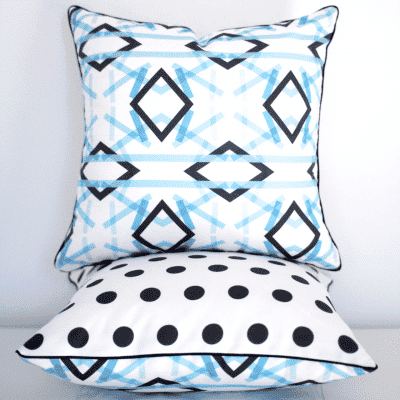 Ribbon Art cushion cover blue