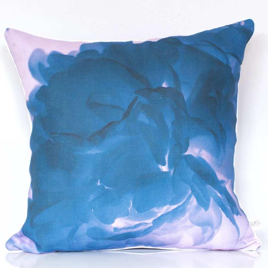 Turquoise/Blush Peony Linen Cushion Cover - Lauren Skye Studio