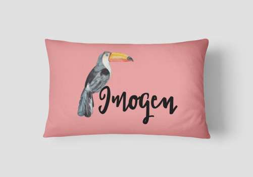 Girls Toucan Motif Personalised Cushion - Melon