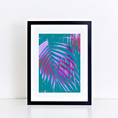 Pop Art Palm Art Print - Turquoise