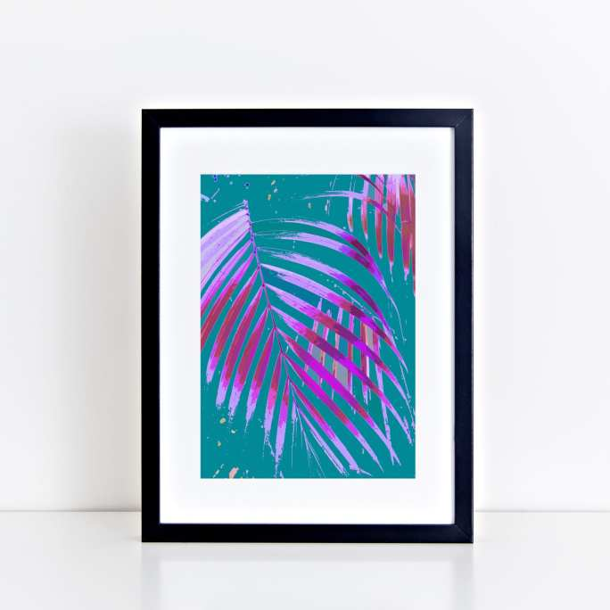 Pop Art Palm Art Print - Turquoise