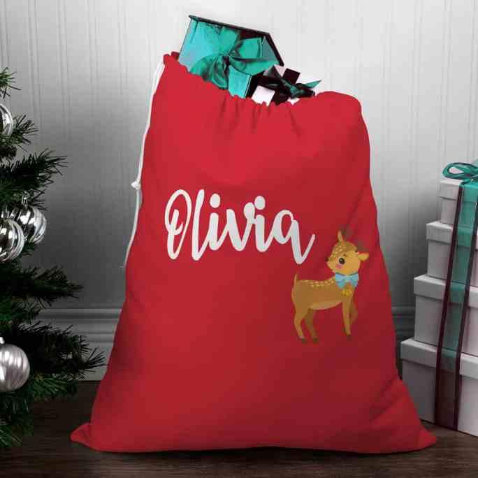Personalised Santa Sack - Reindeer with Bow