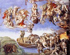 """Den Sünder erwartet die Hölle. Hier dargestellt von Michelangelo auf seinem Gemälde """"Das Jüngste Gericht"""" (1536–1541)."""