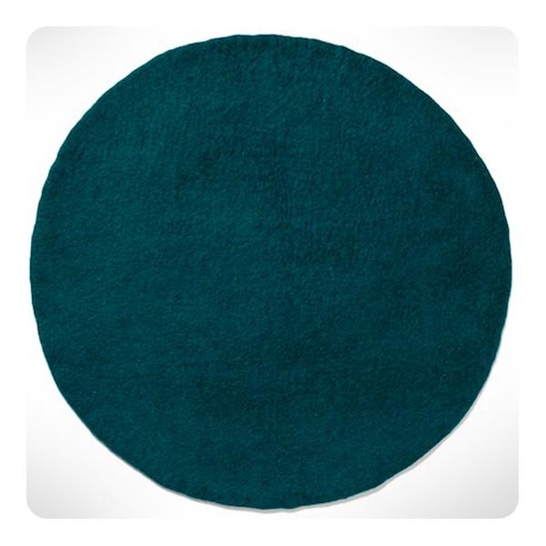 Tapis Rond Bleu Canard Diam 120cm Laurette