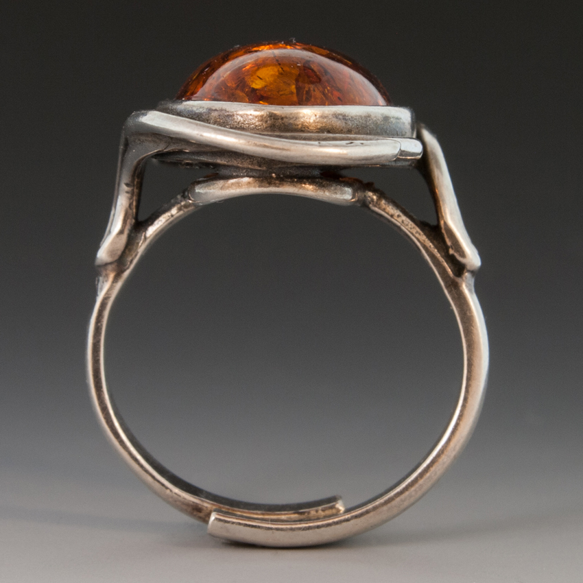 Sterling Silver Ring WLarge Amber