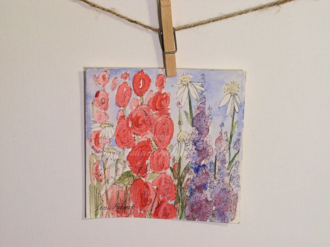 Garden wildflower original art.
