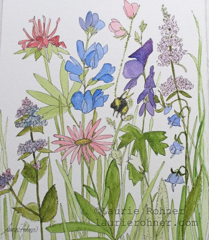 Watercolor Painting Botanical Garden Woodland Wildflowers Original Nature Art