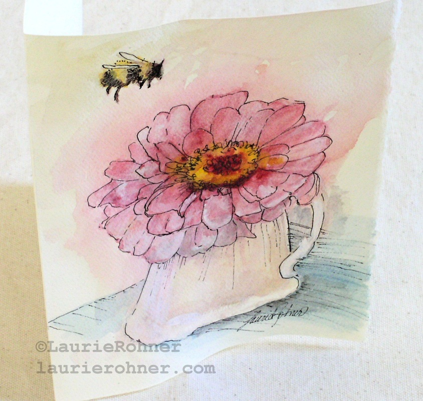 Blank card with original watercolor painting on the front.