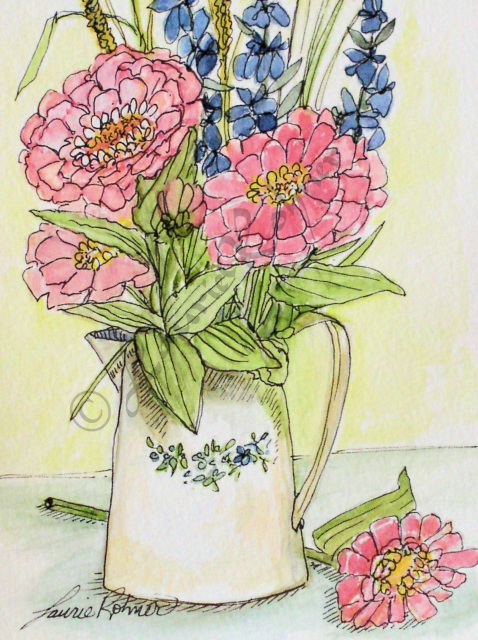 Watercolor Pink Zinnias In Pitcher Illustration