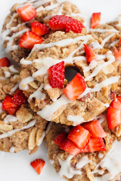 Strawberry-Rhubarb Doughnuts (or Muffins) With a Cinnamon Streusel Topping