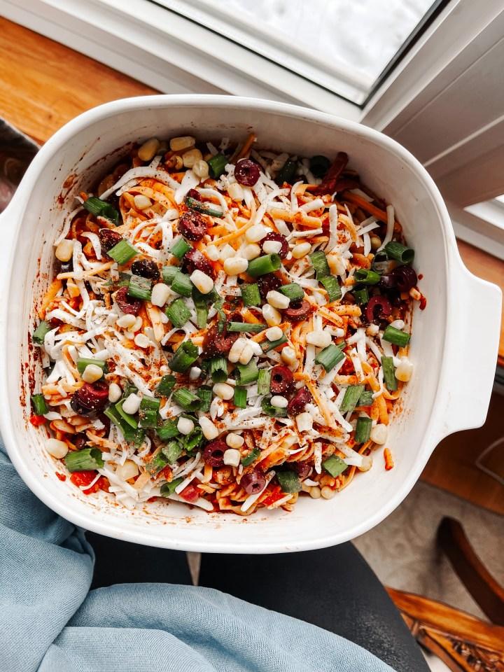 Healthy Vegetarian Mexican Pasta Bake