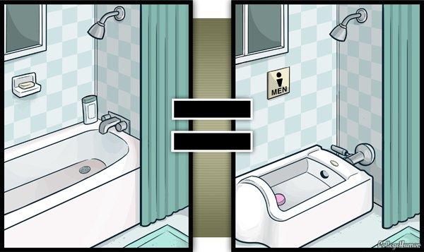 La baignoire devient un urinoir