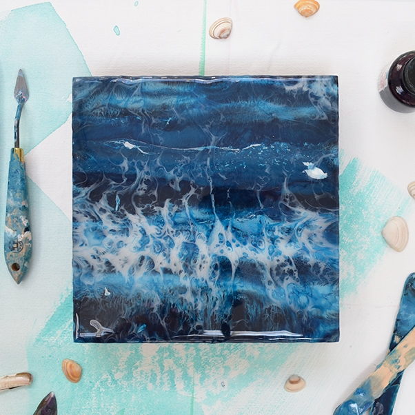 Waters Edge – resin on wood panel