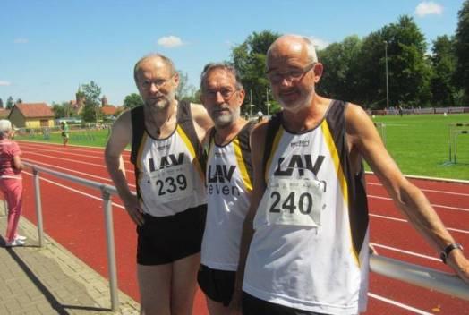 Joachim Hickisch, Detlef Wickmann und Helmut Meier (v.li.) vertraten die LAV Zeven in Jüterbog.