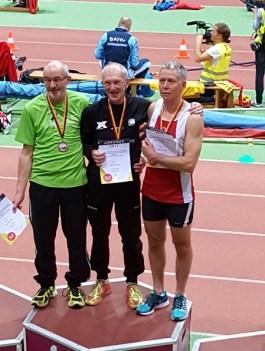Siegerehrung M65 200m 1. Dorschner, 2. Meier, 3. Brenner