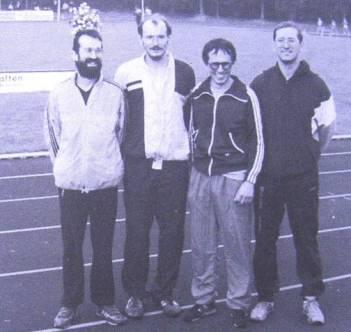 6.Platz bei den Deutschen Seniorenmeisterschaften in Scheeßel 4x400m Staffel v.l.n.r.:Wickmann, Hickisch,Wolf,Umann