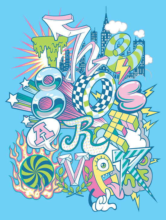 Electrifying and Colorful Typography Poster Designs