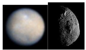 A sinistra, Cerere ripreso dal telescopio spaziale Hubble nel 2004; a destra un'immagine di Vesta ripresa dalla sonda Dawn nel luglio 2011