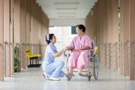 Old woman with a nurse