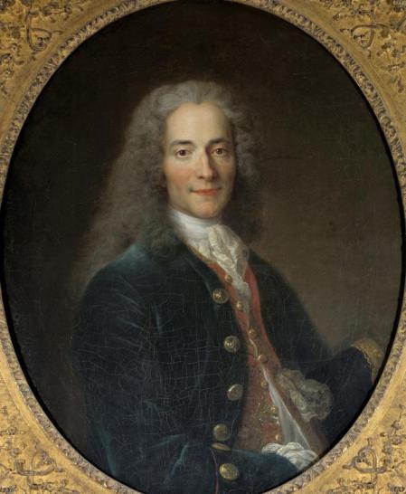 Portrait of Francois Marie Arouet called Voltaire (1694-1778) at the age of 24. Painting by Nicolas de Largilliere (1656-1746), 1718. 0,8 x 0,65 m. Castle Museum, Versailles, France (Photo by Leemage/Corbis via Getty Images)