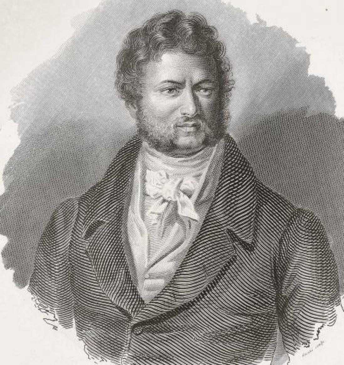 Giovanni Battista Belzoni en un grabado de 1837.
