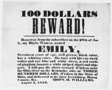 Anuncio publicado en Kentucky en 1853 en el que se ofrece una recompensa de 100 dólares para recuperar una esclava llamada Emily