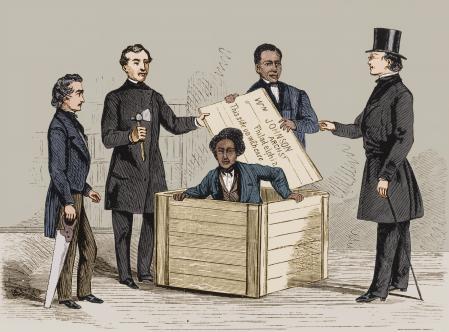 Ilustración que describe el caso de Henry 'Box' Brown, en esclavo fugitivo que logró su libertad escondiéndose en una caja