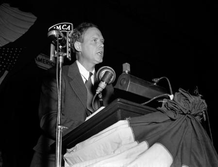 NEW YORK, NY - OCTOBER 30: Charles Lindbergh (1902-1974) the spokesperson of the America First Committee (AFC) speaks during the rally on October 30, 1941 at Madison Square Garden in New York, New York. The AFC was the pressure group against the Americans joining World War II. (Photo by Irving Haberman/IH Images/Getty Images) (AMF-64)