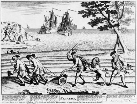 Sátira británica de 1738 en la que aparece el león inglés atacando un arado tirado por esclavos que representa el sistema colonial español. Al fondo se puede ver a Fandiño cortándole la oreja a Jenkins y a un barco británico en plena batalla con uno español.