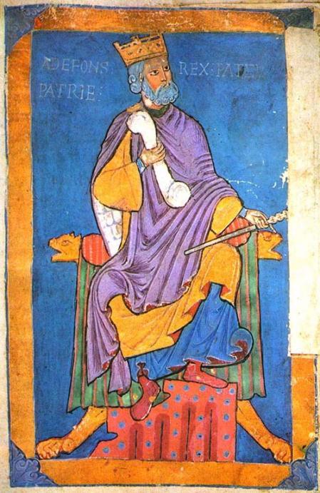 Miniatura que representa al rey Alfonso VI de León (1047-1109), padre de Urraca.