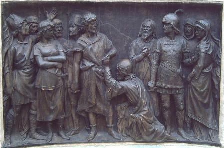 La vida es sueño. Relieve en bronce, detalle del monumento a Calderón en la Plaza de Santa Ana de Madrid (Obra de J. Figueras, 1878).