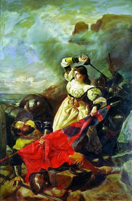 Maria Pita cargando contra los ingleses. Arturo Fernández Cersa.