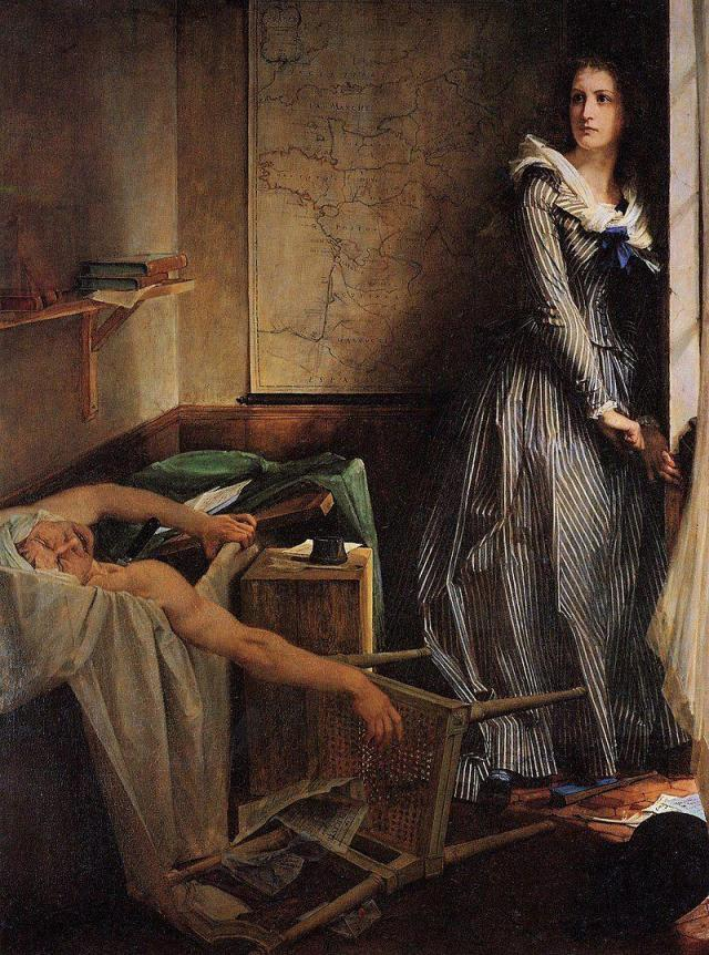 Charlotte Corday tras asesinar a Marat, obra de Paul Baudry.