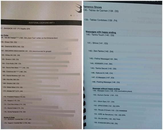 Lista de prostíbulos, provista por la empresa BDRIVEN (se han borrado las direcciones y teléfonos de los locales)