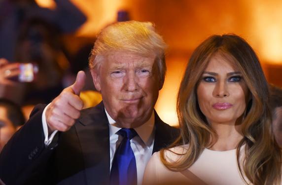Trump, acompañado de su mujer, se mostró pletórico con los resultados de New York
