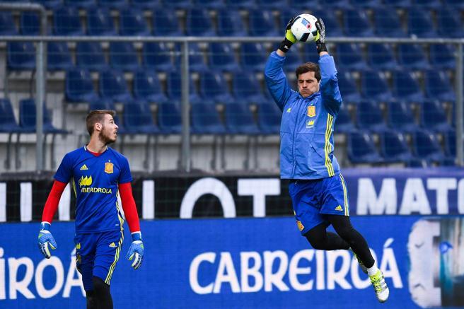 De Gea y Casillas durante un entrenamiento