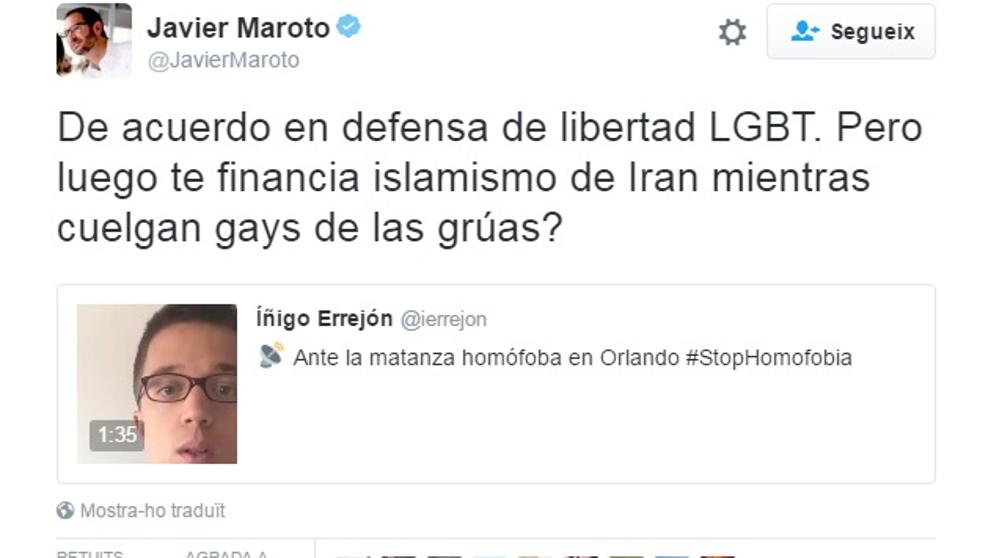 Agrio rifirrafe entre Maroto y Errejón en torno a la matanza en Orlando