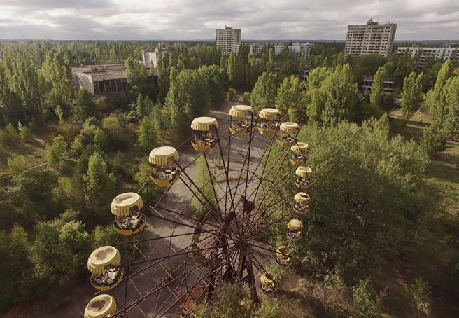 Vista aérea de la ciudad de Prypat, que tuvo que ser evacuada tras el accidente de la central nuclear de chernobyl