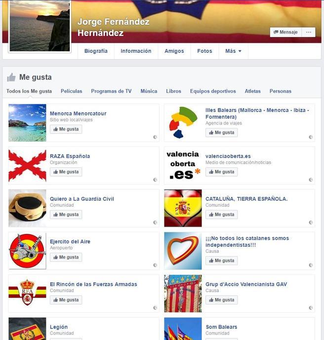 El hombre que amenazó a Puigdemont sigue a varios grupos 'españolistas' en Facebook