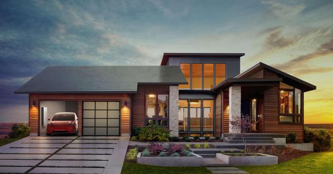 Una instalación de SolarCity con paneles solares que imitan el diseño de tejas tradicionales