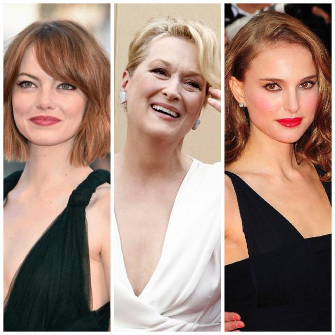 Emma Stone, Meryl Streep y Natalie Portman, tres de las cinco intérpretes nominadas al Oscar en la categoría de mejor actriz