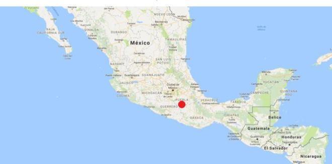 Epicentro del terremoto de magnitud 7,1 que ha azotado México
